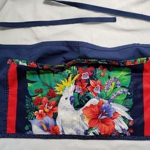 """Tropical Waist Apron 2 Pockets Parrot Up to 46""""  W"""